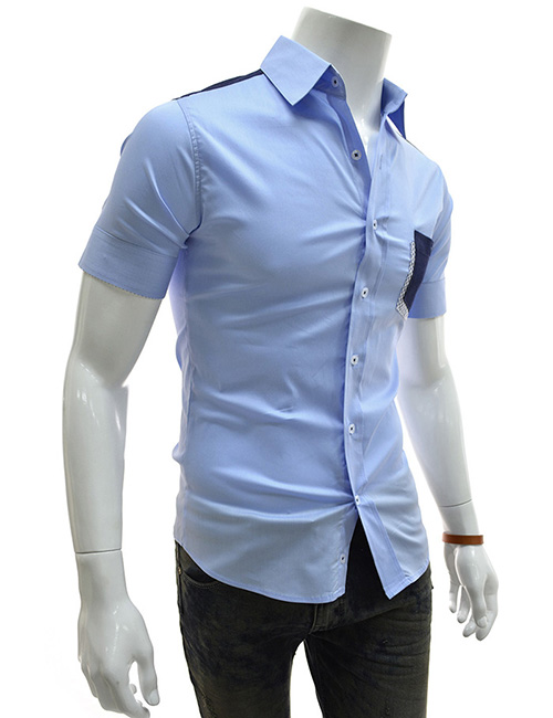 AL2) TheLees Mens Casual short sleeve plain solid Button-down ...