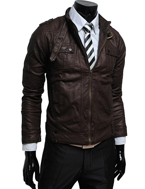 JK706-TheLees-Premirum-Mens-luxury-strap-pocket-slim-Faux-Leather-jacket